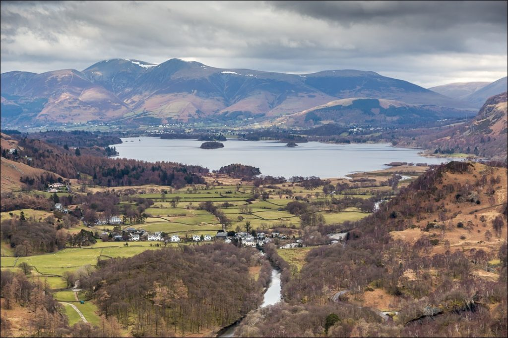 A view of Derwentwater taken from the summit of Castle Crag