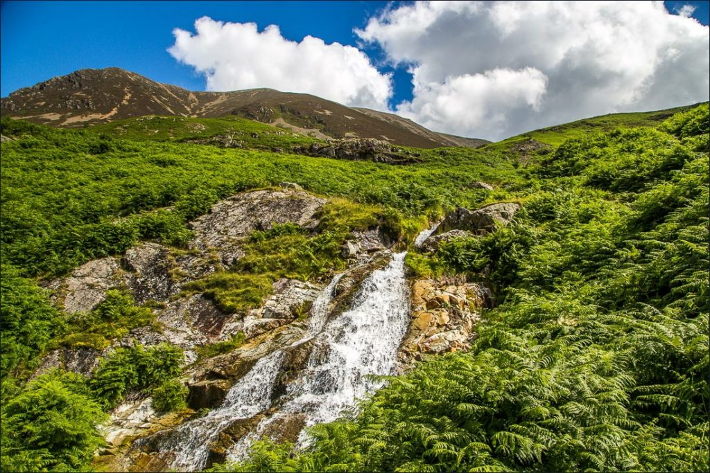 A waterfall trickling down the fell, Grasmoor.