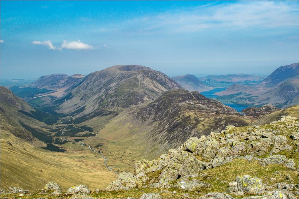 View looking down on to the High Stile range and Haystacks.