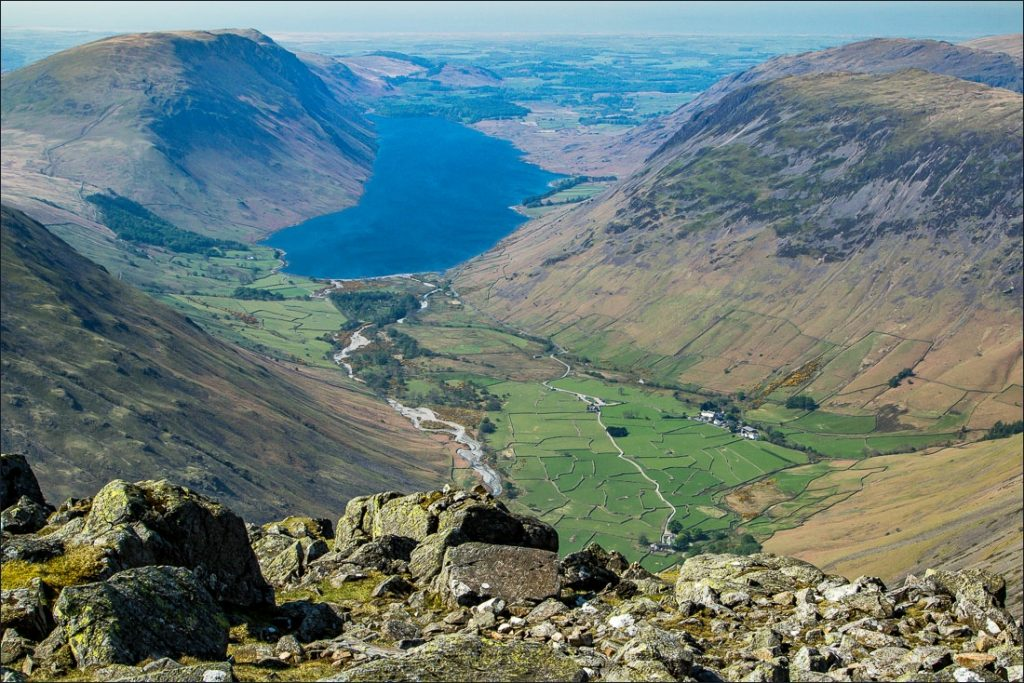 View looking down on to Wastwater in the Wasdale Valley.
