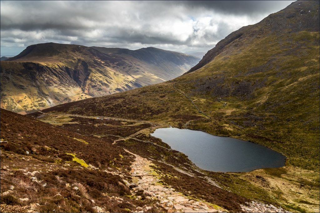 Looking over Bleaberry Tarn on the High Stile range.