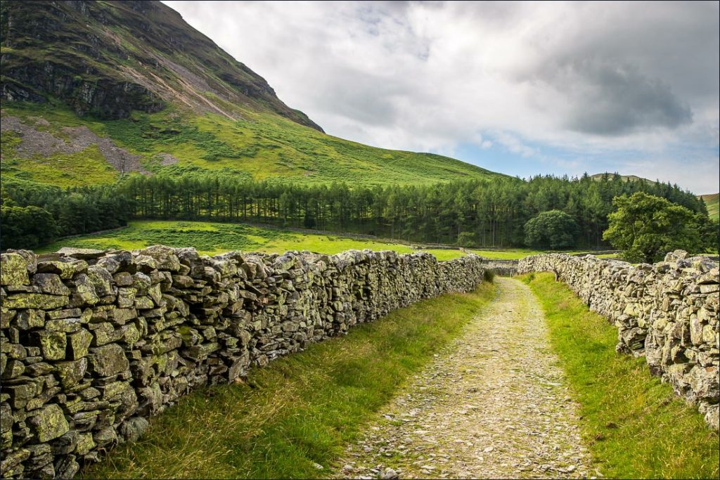 The stony path that leads up to Mellbreak Fell.