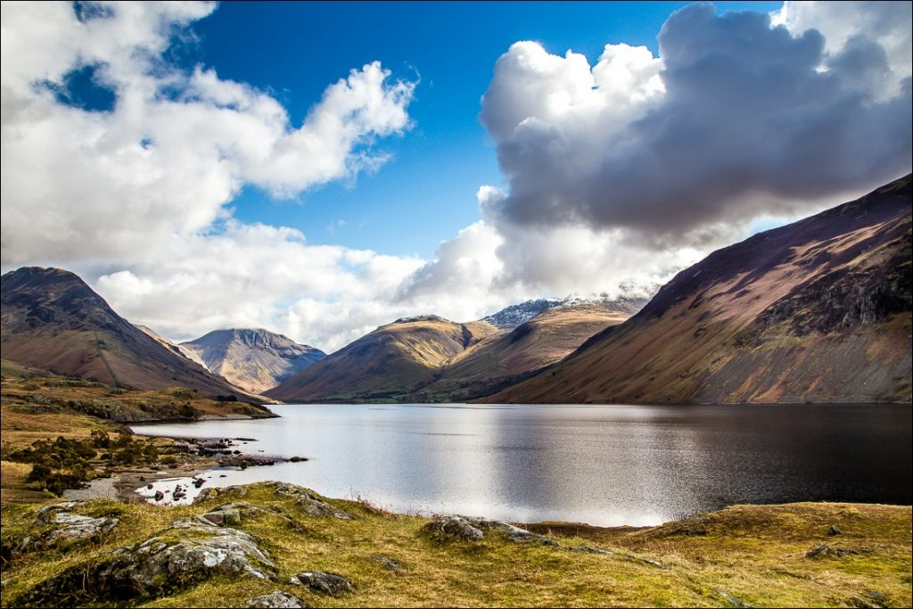 Looking over Wastwater with views of the surrounding fells.