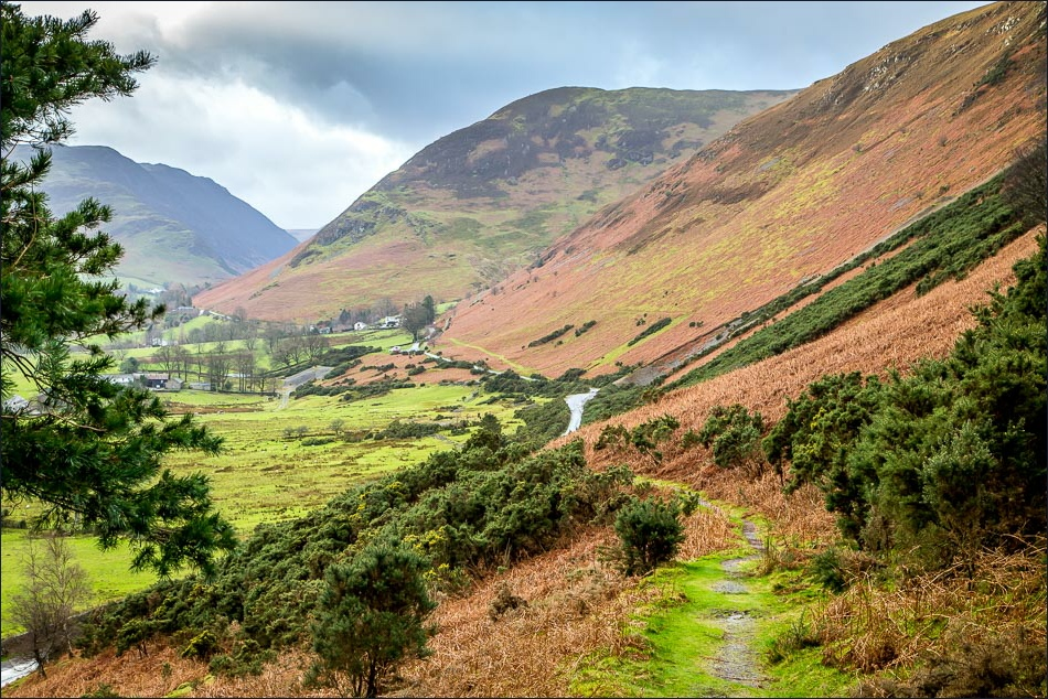 Views of the Newlands Valley on a wet day with autumnal colours