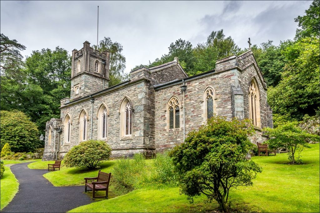 St Mary's Church along the circuit of Rydal Water.