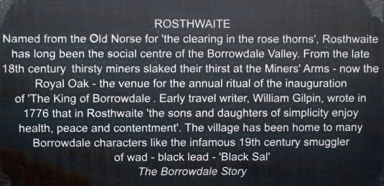 Plaque about the history of the village of Rosthwaite