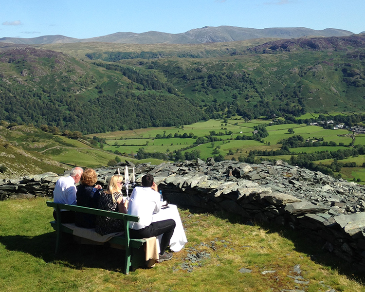 Guests having a meal from the highest view in Rosthwaite in Borrowdale