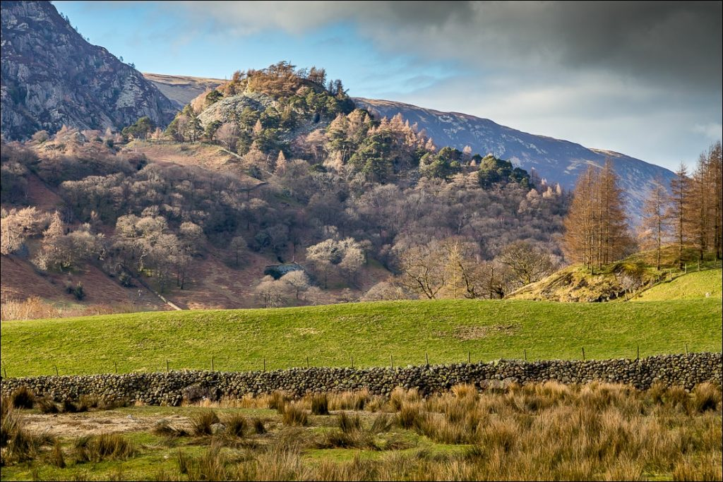 A view of Castle Crag from the village of Rosthwaite