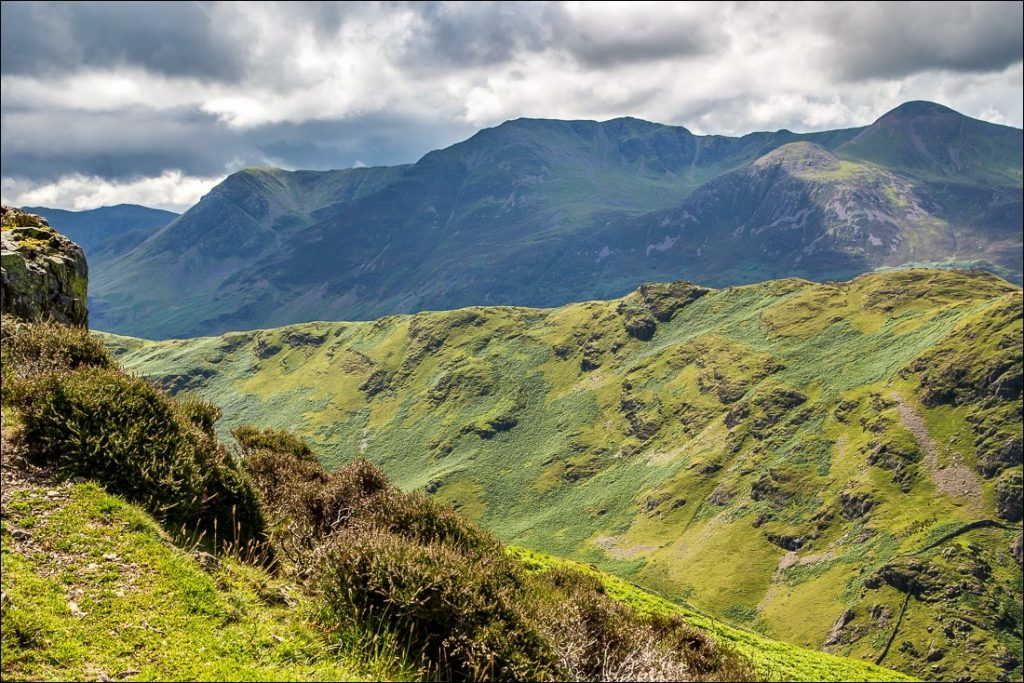 Views of the High Stile range above Rannerdale Knotts, in the Lake District.