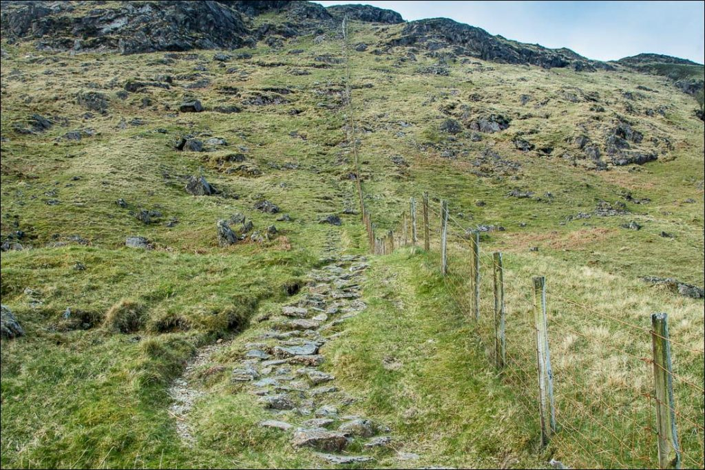 The steep path leading up Grey Knotts.