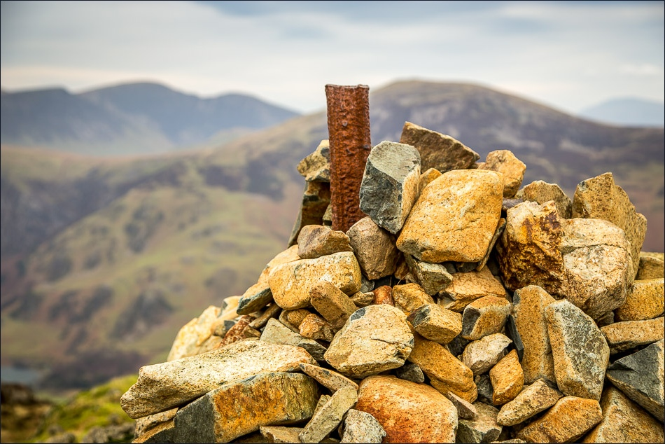 View from Haystacks of cairns on the summit