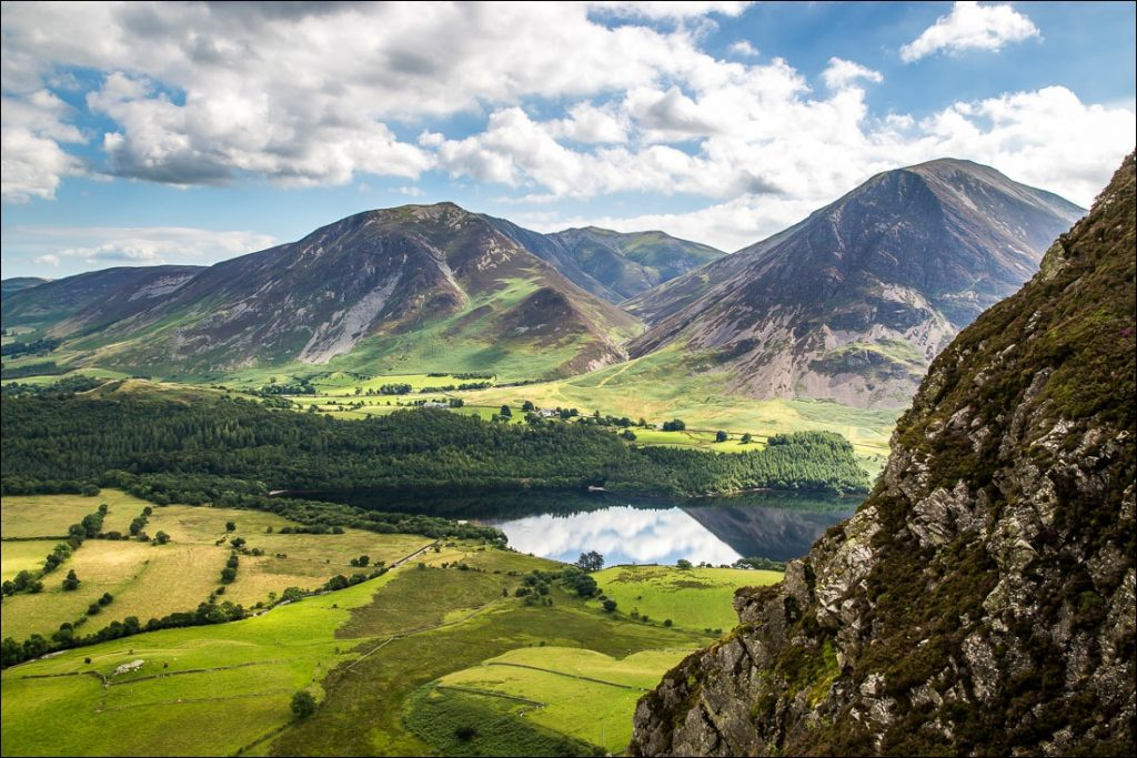 A view taken from the summit of Mellbreak looking toward Crummock Water.