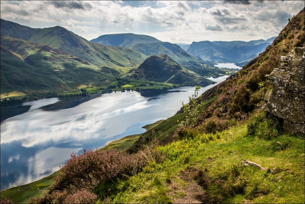 Idyllic view of Crummock Water and Buttermere from Mellbreak.