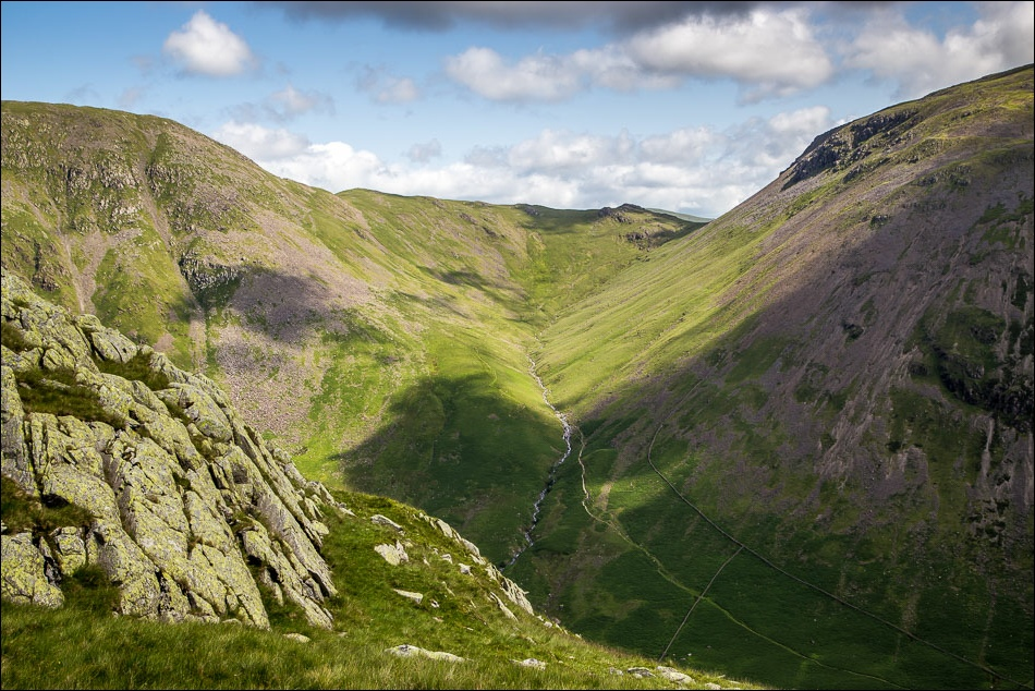 Black sail path between two fells